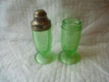Green Depression Glass Salt and Pepper Shaker set