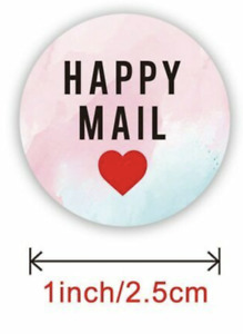 Happy Mail Sticker Thank you Business Sticker Pink Gift Seal 25mm 50pcs