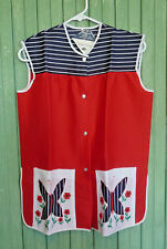 Fun Red White Blue Womens Vintage Smock Apron Butterfly, Flowers, Sz Small ~ NWT