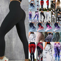Womens Yoga Pants High Waisted Push Up Leggings Stretch Sports Fitness Trousers