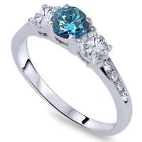 1 Carat Three Stone Treated Blue & White Diamond Ring 14K White Gold
