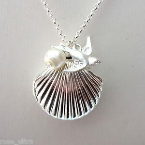 Little Sea Shell Mermaid Locket, Silver Plated Summer Necklace Photo Pendant UK