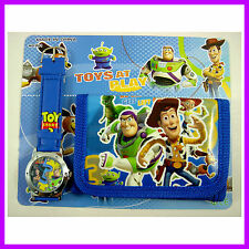 LATEST Toy Story Buzz & Woody Kids Boys Child Wrist Watch and Purse Wallet SET