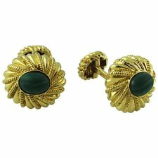 TIFFANY & CO. VINTAGE SCHLUMBERGER 18K YELLOW GOLD MALACHITE CUFF LINKS