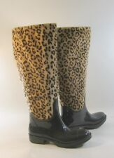 """Bamboo Brown/Cheetah 1"""" Low Thick Heel Snow Knee Sexy Boot Size 6"""