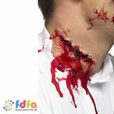 LATEX ZOMBIE HORROR RED STITCHES SCAR - halloween gore fancy dress make up