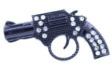 Adjustable punk style black enamel gun pistol ring with crystal