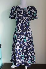 NEW UK 10 MARKS AND SPENCER Blue Mix Tea Dress Lined BNWT RRP £45 (222)