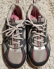 Skechers Woman's Shape Ups Navy Blue/Gray/Pink Athletic Shoes Size 8 Model 11806