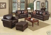 Brown Leather 3 Seater or 2 Seater or Armchair or Footstool Sofa Suite HIGHBURY
