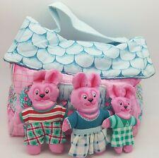 Vintage Fabric Soft Bunny Rabbit House & Bunny Family Playset Toy