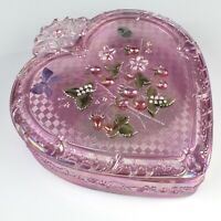 "Fenton 8"" Large Glass Pink Iridescent Carnival Glass Heart Trinket Box"
