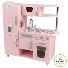 KidKraft Wooden Pink Vintage Kitchen Kids Pretend Play Fridge Cooking 53179