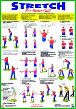 Golf Exercise Poster Golf Warm Up Training Laminated Chart