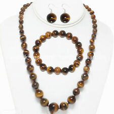 "6-14MM Genuine Yellow Tigers Eye Gems Round Necklace 18"" Bracelet Earrings Set"