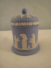 Wedgwood Jasperware Covered Jar Tobacco/Spice with Cupid Blue and White Pristine