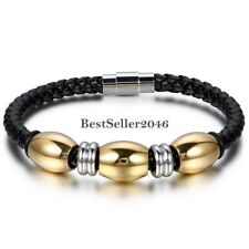 Mens Black Braided Leather Stainless Steel Bracelet Wristband w Gold Tone Bead