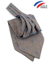 Cravate foulard ascot Lavalière à nouer Bleu et mordoré pour homme - Tie ascot