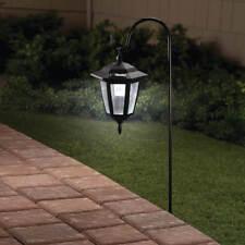 Set of 3 Hanging Solar Lanterns w/ Shepherds Hook Outdoor Garden Pathway Lights