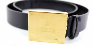 Auth GUCCI Gold Brass Buckle & Black Leather Waist Belt Size 85 CM 34'' ITALY