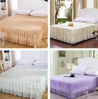 High Quality Bedspread Home Decor Bed Skirt Print Bedding Lace Edge Princess ##