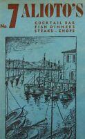 Vintage Alioto's Seafood Restaurant Menu San Francisco Fisherman's Wharf 1949