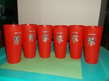 "SET 6~~VINTAGE CHRISTMAS CUPS~~RED W/ SILVER BELLS~~6"" PLASTIC TUMBLER~RE-USABLE"