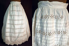 Victorian White Cotton Broderie Anglaise Eyelet Lace Petticoat Full Hoop Skirt