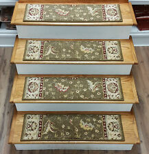 "Rug Depot 13 Traditional Carpet Stair Treads 31"" x 9"" Staircase Rugs Brown Wool"