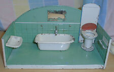bad puppenstube antik alt blechspielzeug wanne waschbecken blech spielzeug abort