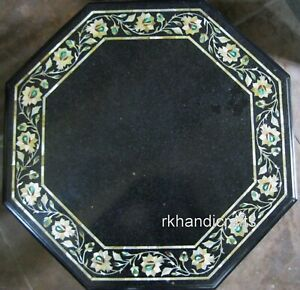 24 Inches Marble Center Table Top Octagon Coffee Table with Inlay Art at Border