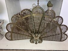 New ListingVintage Brass Peacock Fireplace Screen Fan Out Gargoyle Art Nouveau Boho Ornate