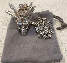 ALEXANDER MCQUEEN Silver Tone Samurai Skull Crystal Eye Pendant Necklace - Rare!