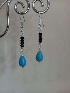 Vintage style Blue Turquoise & Black Agate gemstone drop dangly earrings