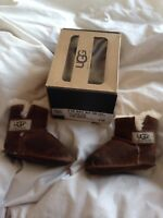 Authentic Baby Girls Tan Suede Ugg Boots Shoes 0-12M Size 0.5 UK