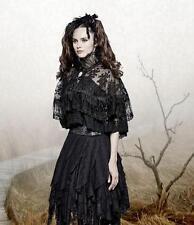 Gothic Steampunk Victoriano Capa Capa Cuello alto Lolita Punk Rave negro