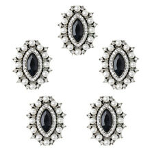 5x Vintage Alloy Rhinestone Crystal Pearl Oval Button Embellishment Jewelry