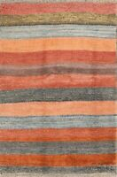 New Striped Modern Tribal Gabbe Oriental Area Rug Wool 4x6 Hand-Knotted Carpet
