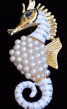 ELEGANT GOLD WHITE PEARL OCEAN SEA LIFE SEA HORSE SEAHORSE PIN BROOCH JEWELRY 2""