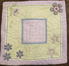 Vintage Pottery Barn Kids Daisy Euro Pillow Sham Quilted Pink Lavender Flowers