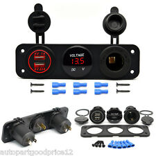 Car Boat Dual USB Charger+Voltmeter+12V Outlet Socket Panel for GPS iPhone iPod