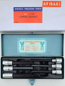 "Hex Key Socket Set 6pc, SAE 1/4"" - 9/16"" x 1/2"" Dr, Long Series, Minimax Tools"