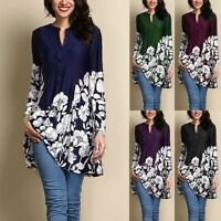 Women Vintage Printed Tunic Tops Plus Casual Loose Tops Blouse Shirt T-Shirt