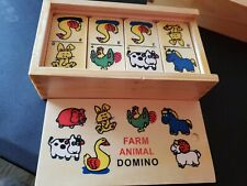 Farm Animal Domino Wooden Box Wooden 28 Pieces New