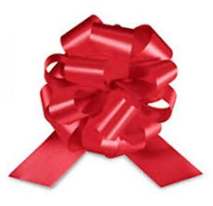 "50 5.5"" RED PULL BOWS~ CHRISTMAS RED SATIN RIBBON~ 20 LOOP~50 pc"