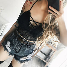 Sexy Women Solid Lace bandage  Bralette Bustier Crop Top Bra Shirt Vest Push Up