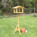 BIRD TABLE DELUXE WOODEN WITH BUILT IN FEEDER FREE STANDING BIRD FEEDING PREMIUM