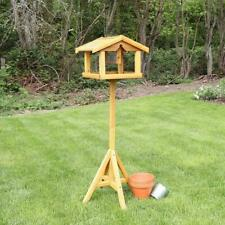 More details for bird table deluxe wooden with built in feeder free standing bird feeding premium