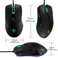 USB Wired Ergonomic Mice RGB Backlight Gaming Mouse For Computer Laptop