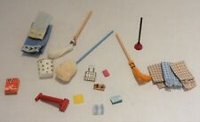 Lot Dollhouse Miniature Cleaning Supplies Dust Mop Broom Soap Dish Mouse Trap